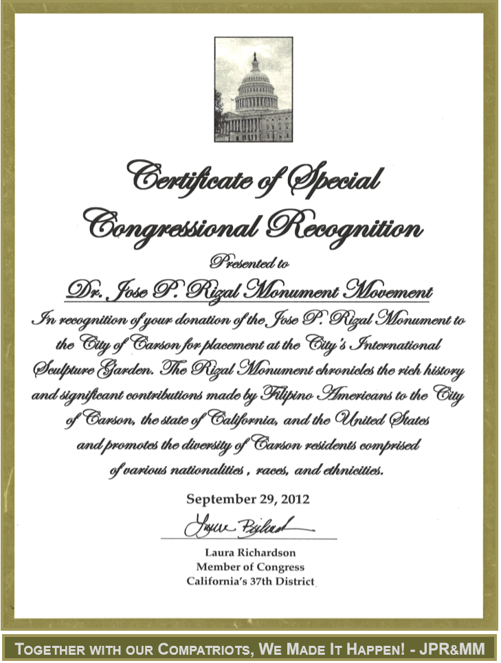 Certificate of acceptance california gallery certificate design dr jose p rizal monument movement jprmm uplc certificate congress yadclub gallery yadclub Gallery